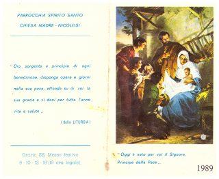 Esterno del flyer Natale 1989 della Parrocchia Spirito Santo - Chiesa Madre Nicolosi