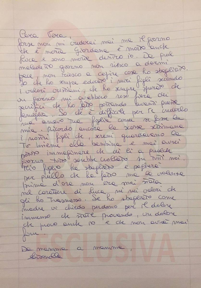 Omicidio di Giordana Di Stefano: lettera della mamma di Luca