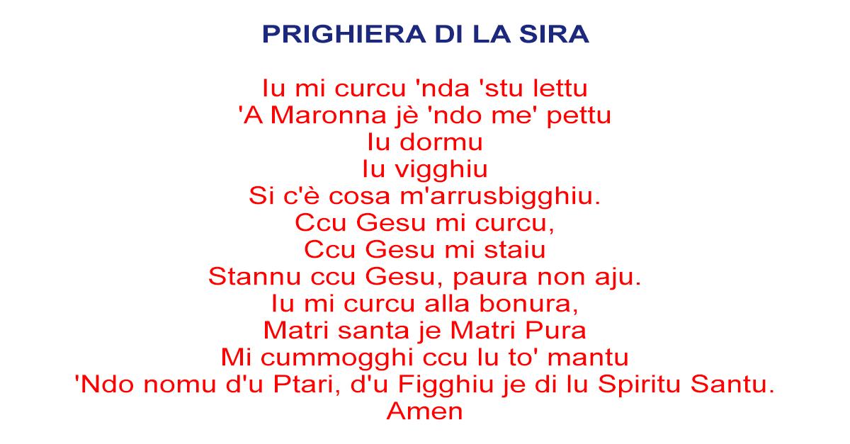 Preghiera della sera in dialetto siciliano
